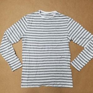 Primark Grey Stripes Long Sleeve T-Shirt Men's S
